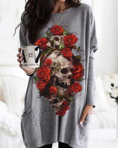 Halloween Skull Rose Print Long Sleeve Tops