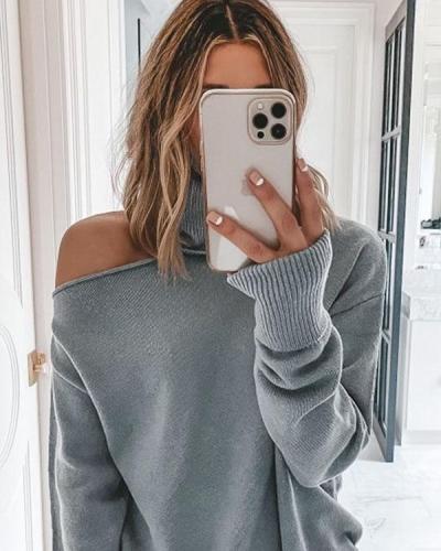 Cutout Shoulder Turtleneck Sweater