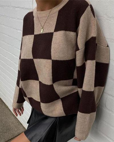 Round Neck Long Sleeve Knit Sweater Loose Sweater