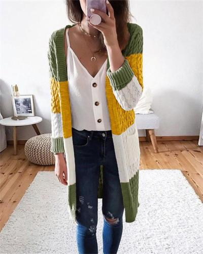 Autumn and winter striped stitching contrast cardigan sweater