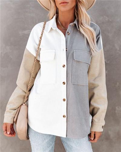 Cardigan contrast color lapel loose blouse