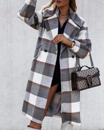 Women Plaid Lapel Midi Coat