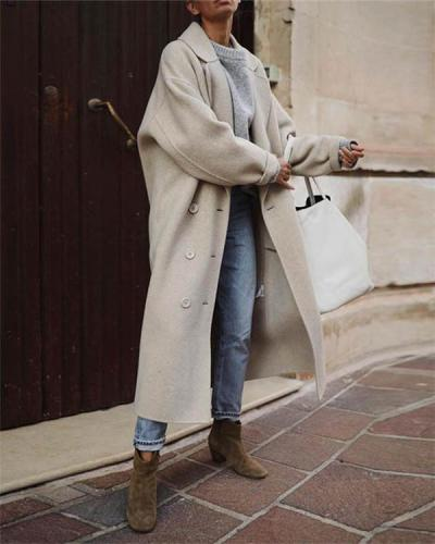 Fashionable pure color casual temperament warm wool coat