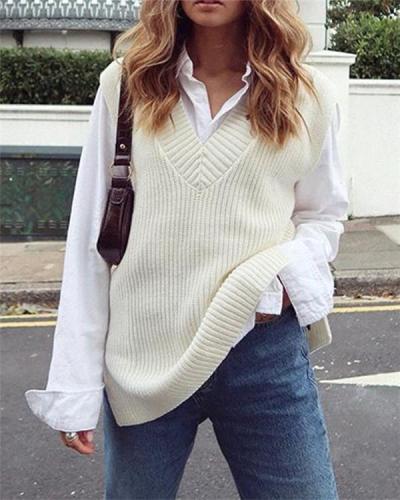 V-neck sweater vest women knitting