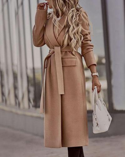 Lapel Cardigan Solid Color Belted Long-sleeved Woolen Coat