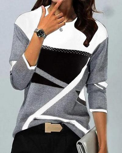 Contrast Print Round Neck Long Sleeves Top