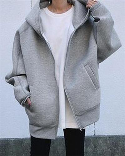 Zipper Hooded Long Pocket Plus Fleece Sweater Coat