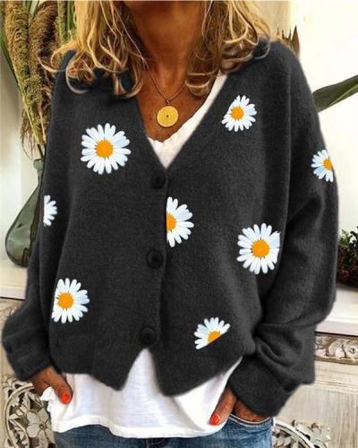 Knit Sweater Single-breasted Autumn Chrysanthemum Embroidered Jacket