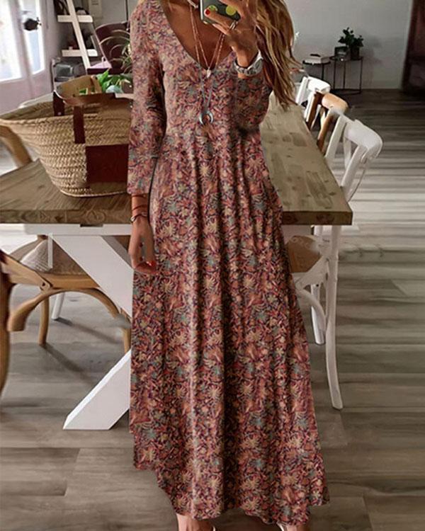 Autumn Boho A Line Retro Print Maxi Dress
