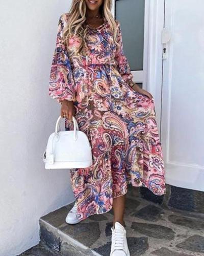 Printed Long Sleeve Stitching Midi Dress