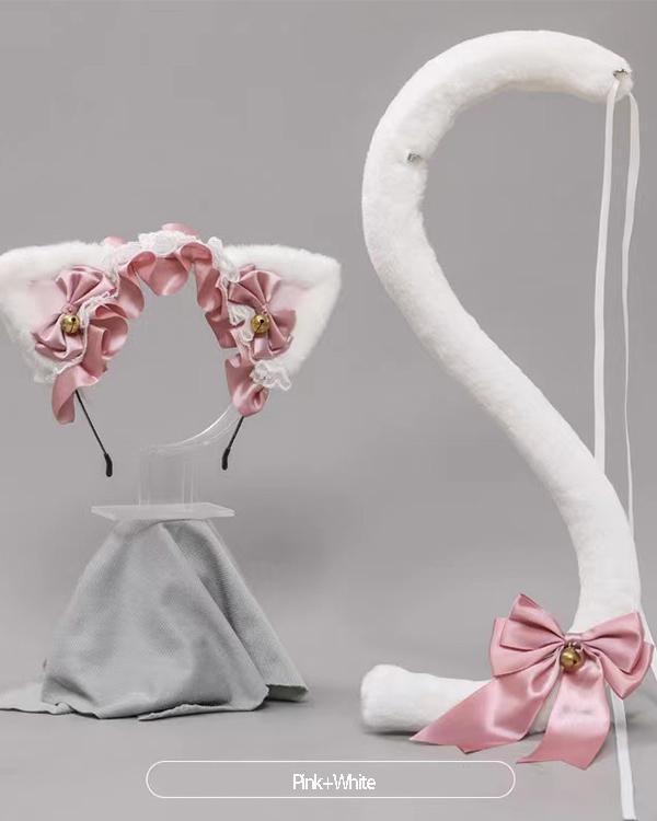 Lolita Lace Bowknot Cat Ears Headband Cattail Suit