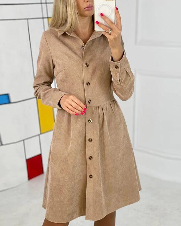 Long Sleeve Single-breasted Corduroy Dress