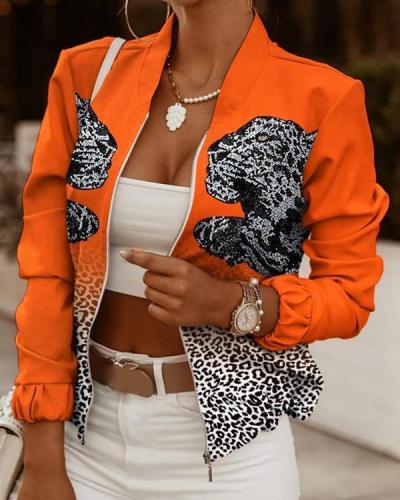 Leopard Printed Stitching Zipper Jackets Outerwear