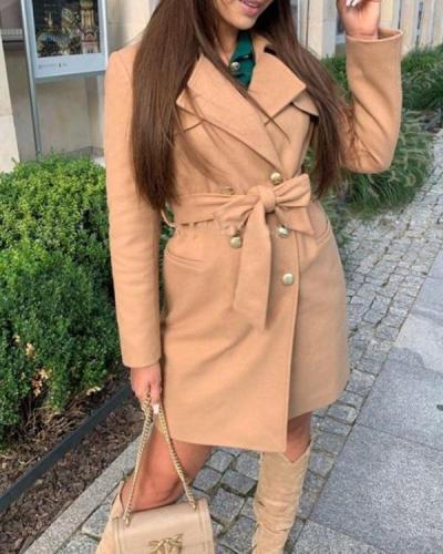 Lapel Solid Color Belted Long-sleeved Woolen Coat