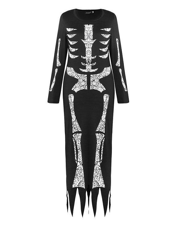 Halloween Skeleton Printed Irregular Hem Casual Dress