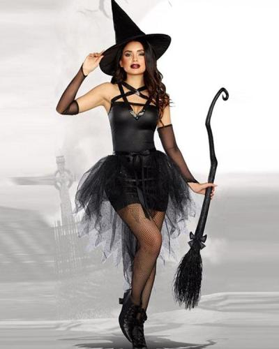 Sexy Gothic Halloween Tulle Dress Witch Costume 5PCS Outfit