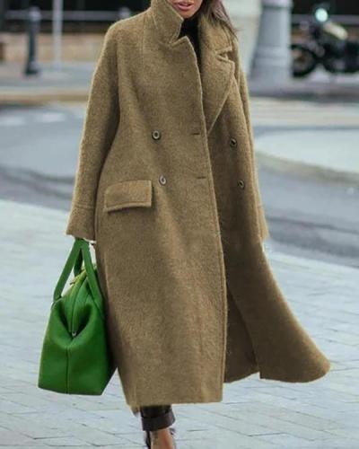 Vintage Plain Long Sleeve Casual Outwear