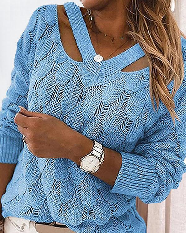 8 Colors V Neck Crotchet Pattern Hollow Out Sweater