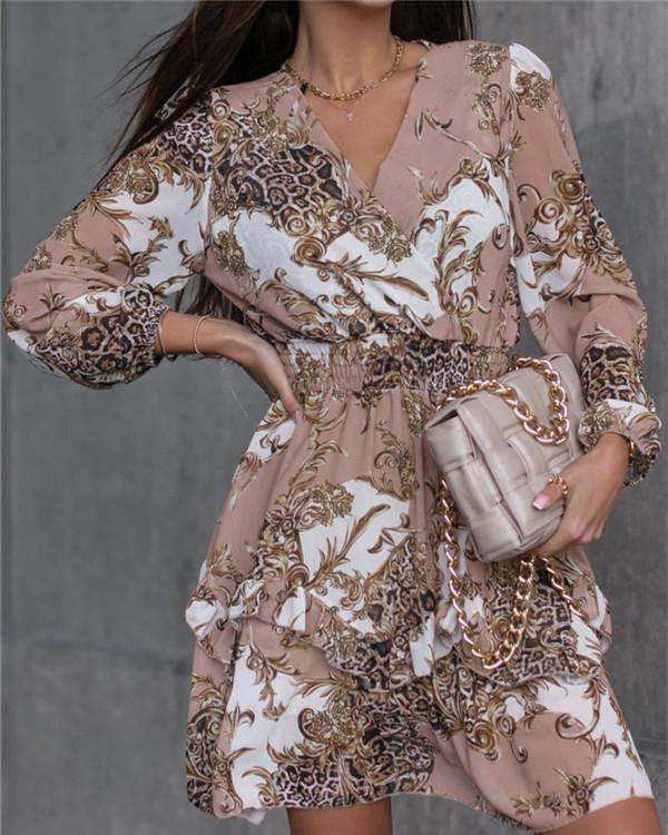 V-neck Long-sleeved Fashion Print Pleated Dress