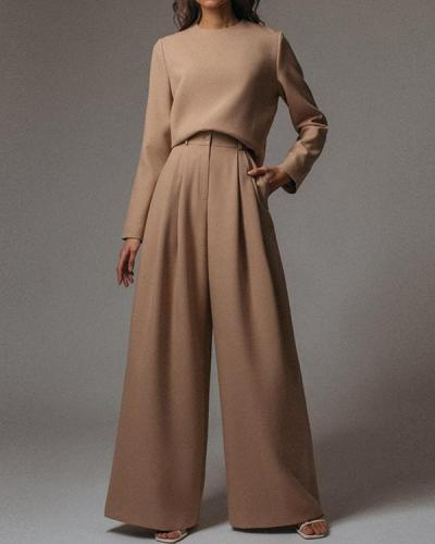 Ladies Fashion Casual Flare Pants Wool Knit Suit
