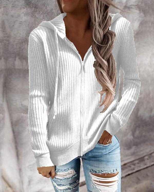 7 Colors Zip up Hoooded Knitted Sweater Cardigan