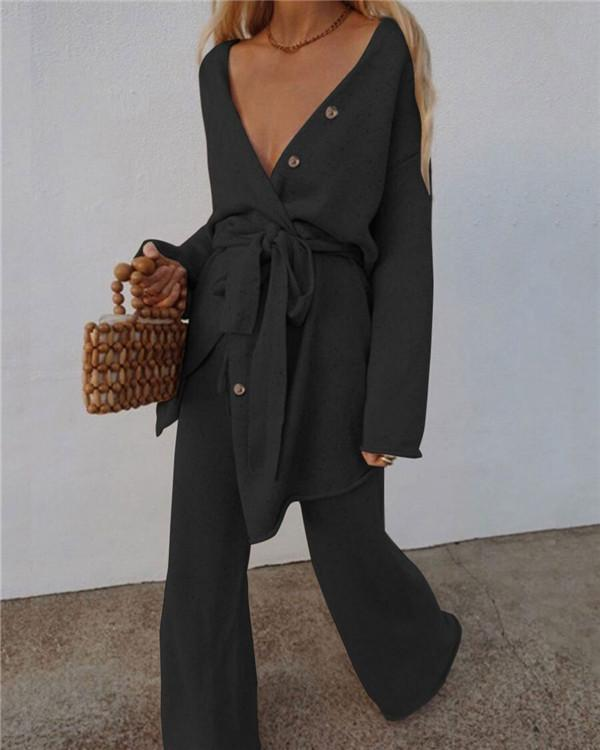 Fashion Knitted V-neck Two-piece Suit
