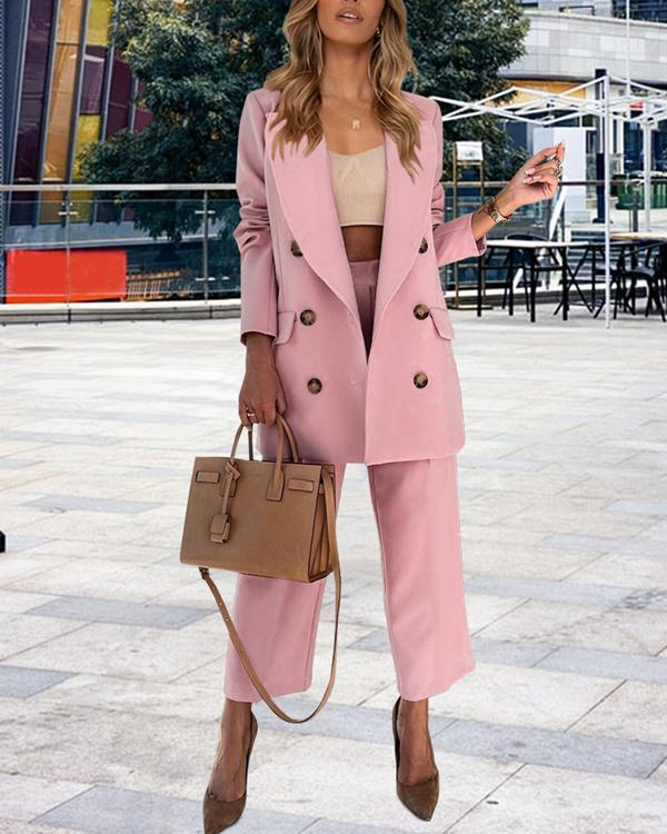 Women Solid Double Breasted 2 Piece Jacket Suit