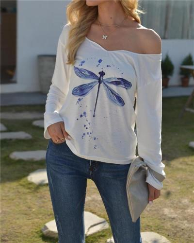 Dragonfly Print Embroidered Collar T-shirt