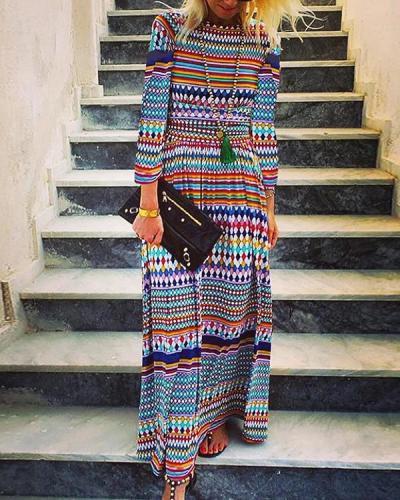 Round Neck Fashion Long Sleeve Printed Dress