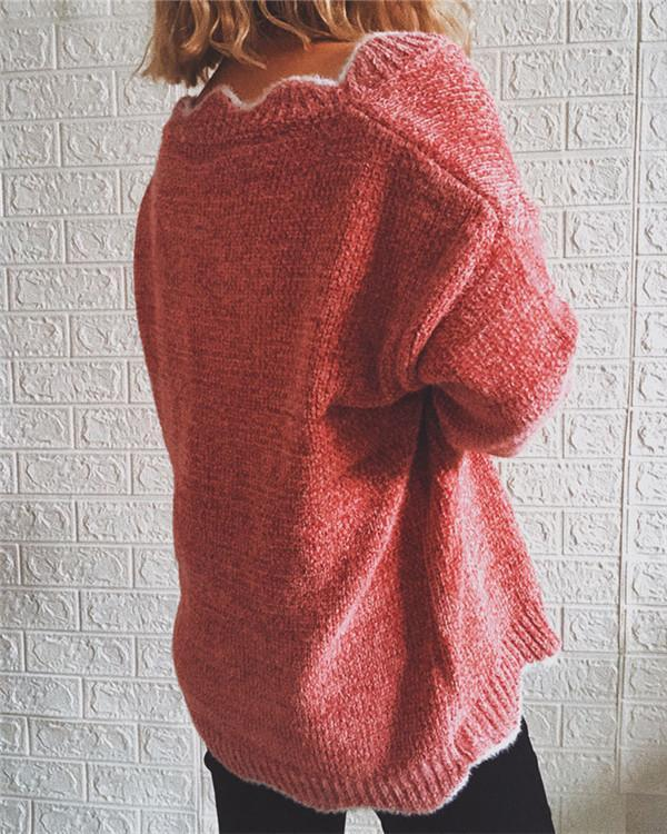 V-neck Long-sleeved Casual Solid Color Pullover