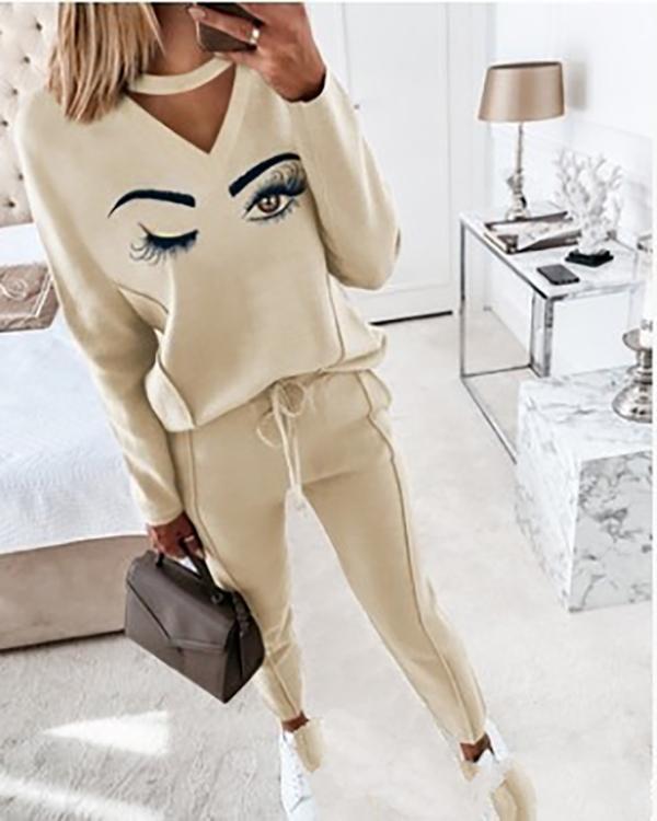 New Contrast Plaid Top & Drawstring Pants Set