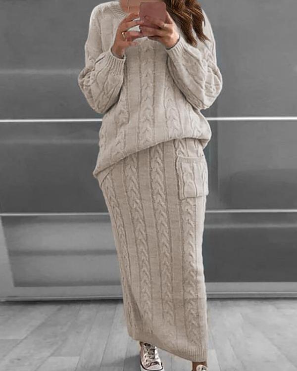 Fashion Twist Flower Stitch Sweater Dress Suit