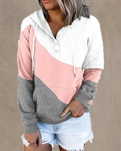 Contrast Colorblock Women's Hoodie Pullover