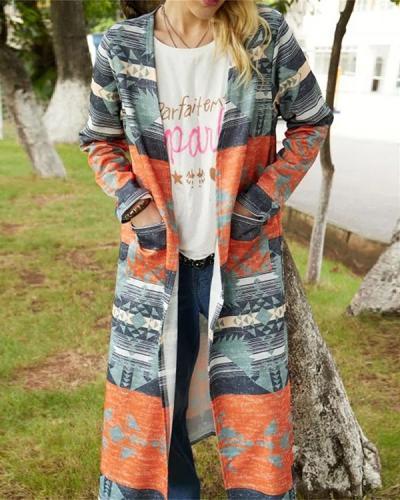 Vintage Geometric Colorful Long Autumn Fashion Coat