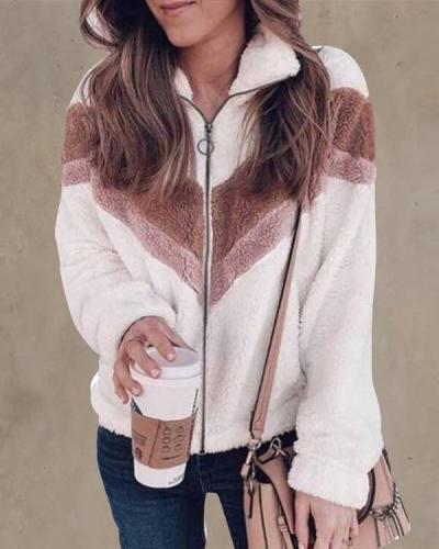 Casual Colorblock Zipper Plush Lapel Coat