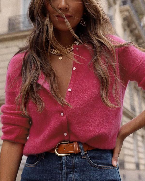 Casual Knit Cardigan Long Sleeve