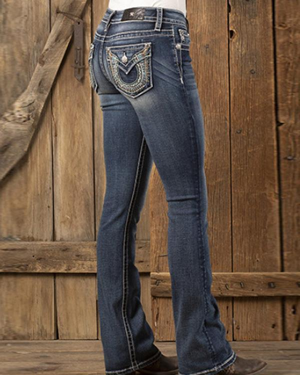 Women's Embroidered Flared Jeans