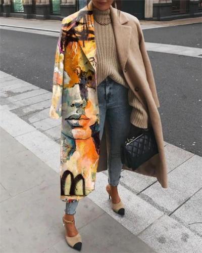Fashion Abstract Printed Lapel Coat