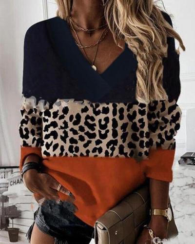 Casual Leopard V Neck Colorblock Autumn Pullover Top