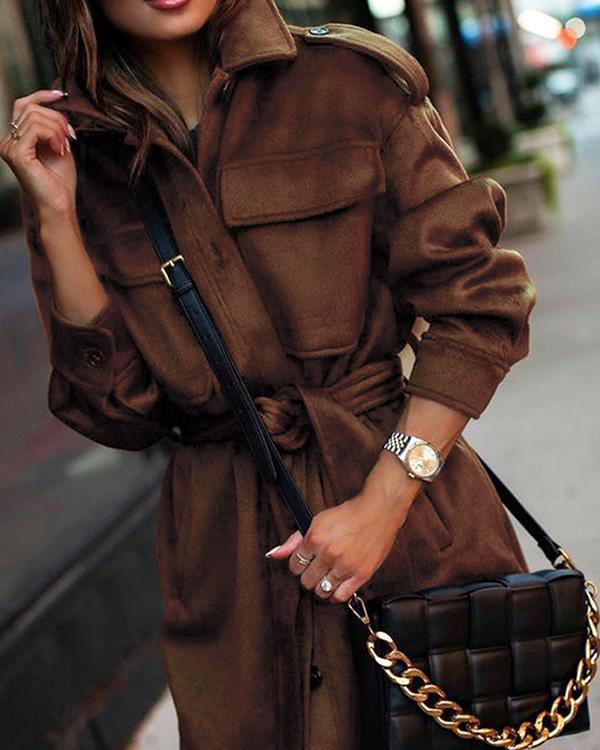 Solid Color Loose Lapel Long Sleeve Woolen Coat