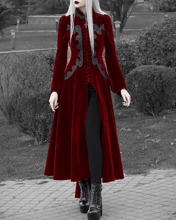Fashion Gothic Style Long Sleeve Lapel Collar Dress