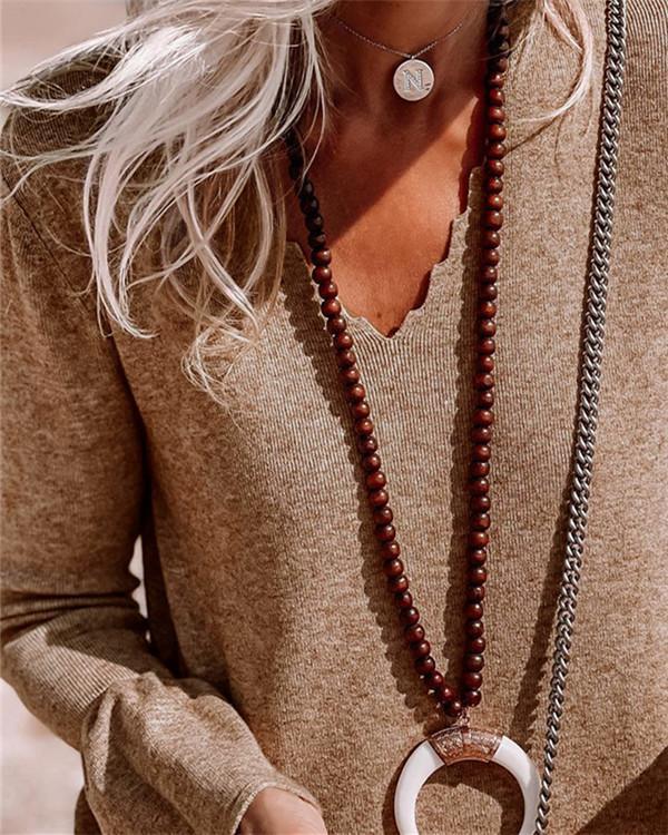 Simple V-neck Long-sleeved Solid Color Dress