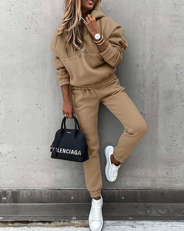 Casual Plain Color Hoodie Top & Pants Set