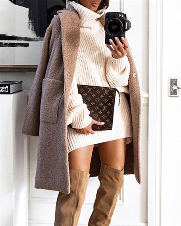 Fashion Solid Color Loose Casual Coat