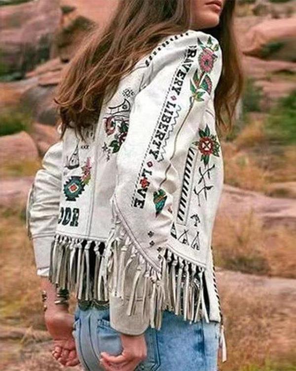 Long Sleeve Printed Fringed Jacket