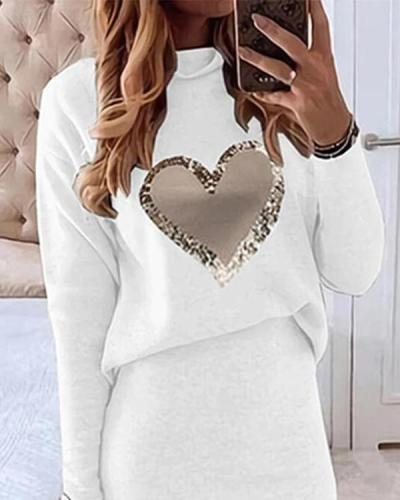 Love Print Long-sleeved A-line Casual Midi Dress