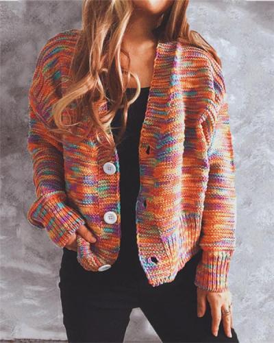 Rainbow Color Loose Knit Sweater Cardigan Jacket