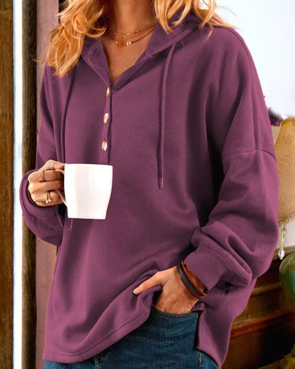 Plain Color Women's Button Hoodie Casual Pullover