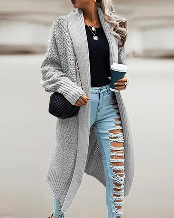 Lapel Bat Sleeve Knit Long Sweater Cardigan