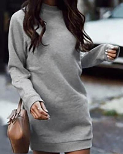 Casual Solid Split Joint Basic O Neck Dresses